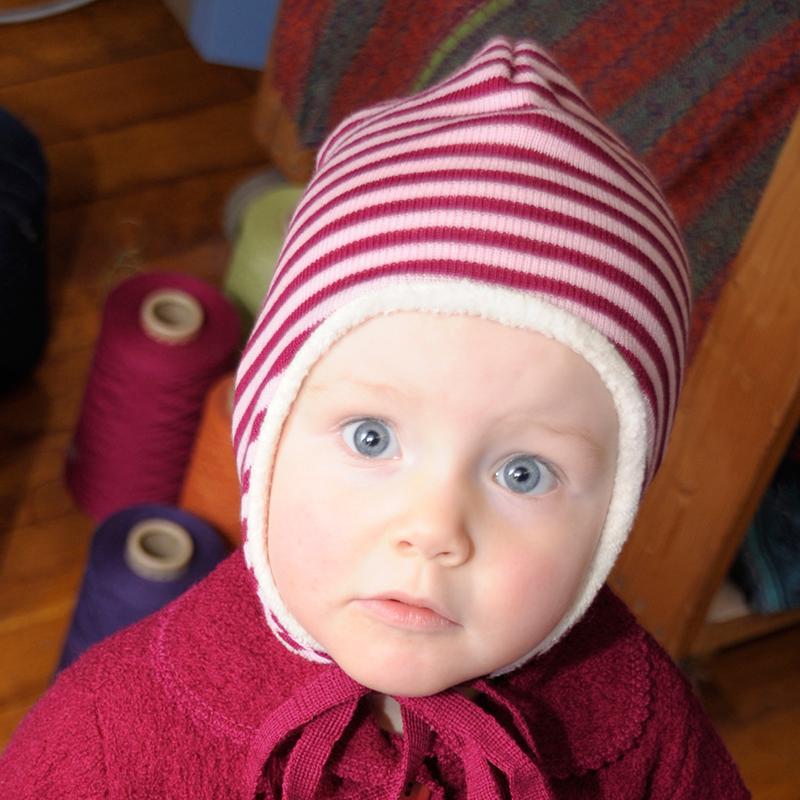 Reiff-Strick Ohrenmütze geringelt mit Baumwollplüsch gefüttert aus 100% Schurwolle (kbT)