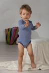 Cosilana Baby-Body lang-Arm, geringelt, aus 70% Schurwolle (kbT) / 30% Seide