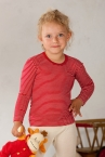 Cosilana Kinder-Unterhemd lang-Arm, geringelt, aus 70% Schurwolle (kbT) und 30% Seide