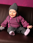Reiff-Strick Babyjacke Schlüttli, geringelt aus 100% Schurwolle (kbT)