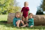 Engel-Natur Baby-Body, lang-Arm, geringelt mit Druckknöpfen aus 70% Schurwolle (kbT) / 30% Seide