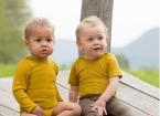 Engel-Natur Baby-Body, langarm, geringelt mit Druckknöpfen aus 70% Schurwolle (kbT) / 30% Seide