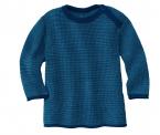 Disana Melange-Pullover mit Knopf aus 100% Merino-Schurwolle (kbT)