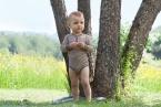 Engel-Natur Baby-Body, lang-Arm, geringelt mit Druckknopf aus 70% Schurwolle (kbT) / 30% Seide